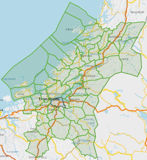 Kommunene i Trøndelag, oversiktskart