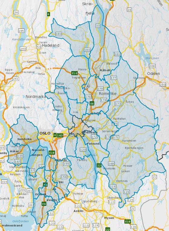 Oversiktskart kommunene (22 stk) i Akershus