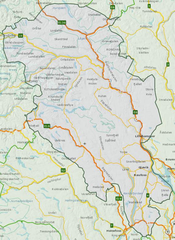 Oversiktskart Oppland fylke