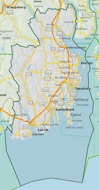 Oversiktskart Vestfold fylke