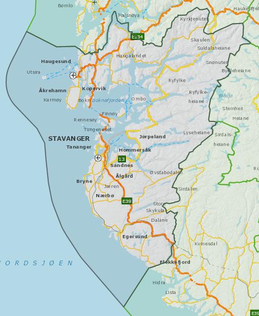 Oversiktskart Rogaland fylke