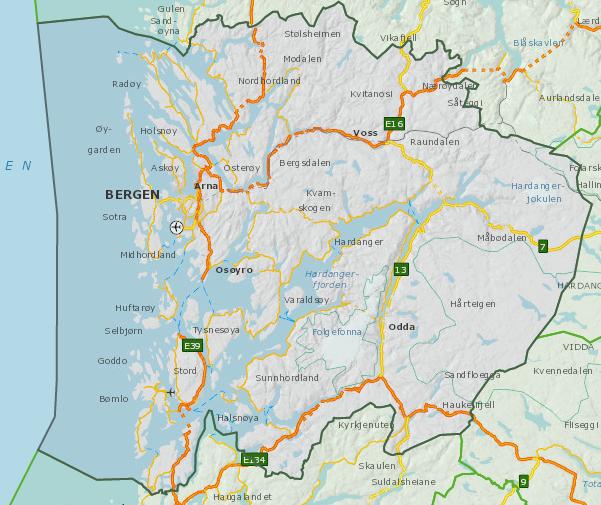 Oversiktskart Hordaland fylke