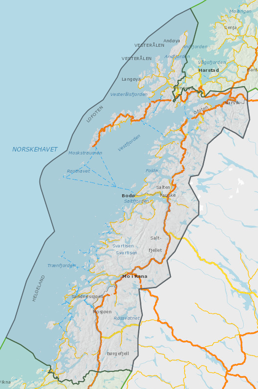Oversiktskart Nordland fylke