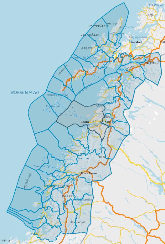 Oversiktskart kommunene i Nordland