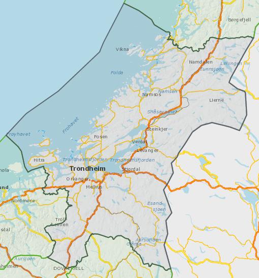 Oversiktskart Trøndelag fylke