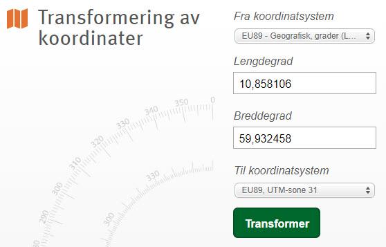 Transformering av koordinater geografiske>UTM + vise i kart